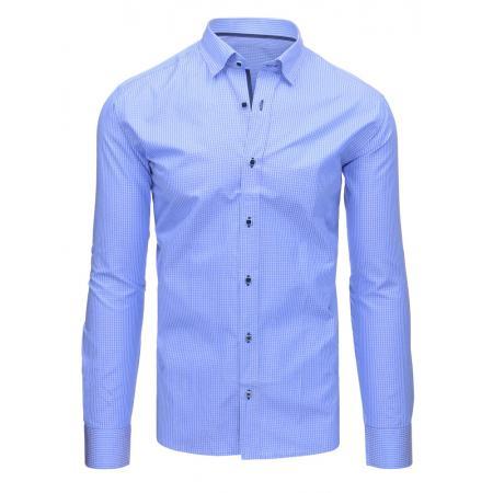 539260814e1f Nebesky modrá pánska košeľa kockovaná s dlhým rukávom