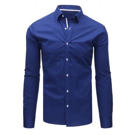 Modrá pánská košile s vzorem a dlouhým rukávem 5f75a350d1