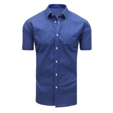 c185b36bea2a Elegantná pánska košeľa so vzorom s krátkym rukávom tmavo modrá