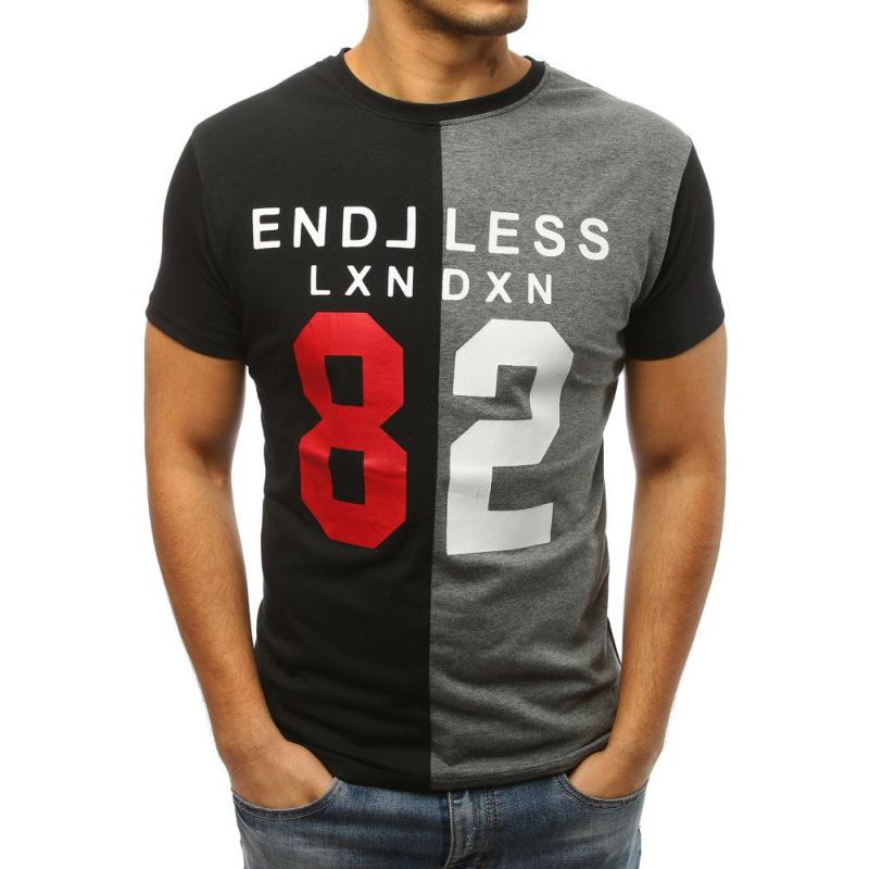 Stílusú férfi póló nyomtatott fekete-szürke  24de1622de