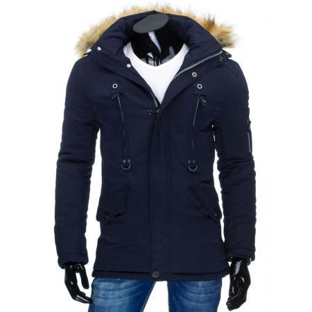 77bd809bc Pánska štýlová zimná bunda (parka) modrá | manSTYLE.sk