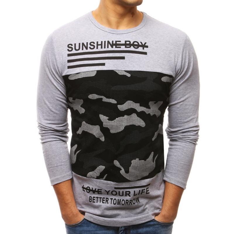d15cbda482225 Pánske šedé tričko s dlhým rukávom   manSTYLE.sk