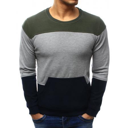 Pánský stylový svetr s kapsou tmavě modro-šedý 041bf78e9e