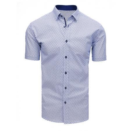 272cf2892704 Elegantná pánska košeľa so vzorom s krátkym rukávom biela