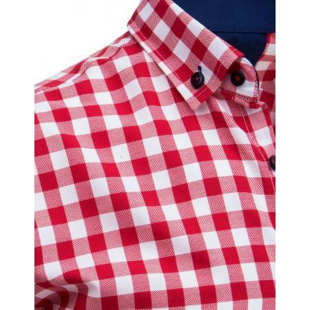 9bc06b4a9af4 Bielo-červená pánska košeľa kockovaná s krátkym rukávom