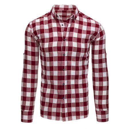 Bordó-bílá pánská stylová košile kostkovaná 78451e7c63