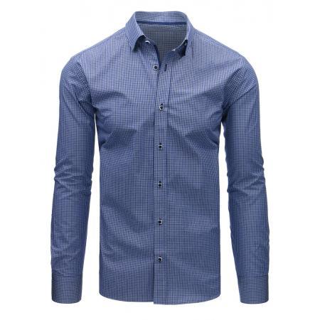 Modrá pánská košile kostkovaná s dlouhým rukávem b6a117dfe7