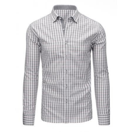 203d90ffc0f Šedá pánská moderní košile čtverečkovaná s dlouhým rukávem