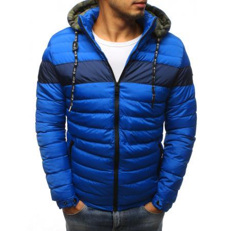 Pánska zimná bunda prešívaná modrá c17a8c65362