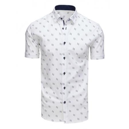 3fedacd158c7 Elegantná pánska košeľa so vzorom s krátkym rukávom biela