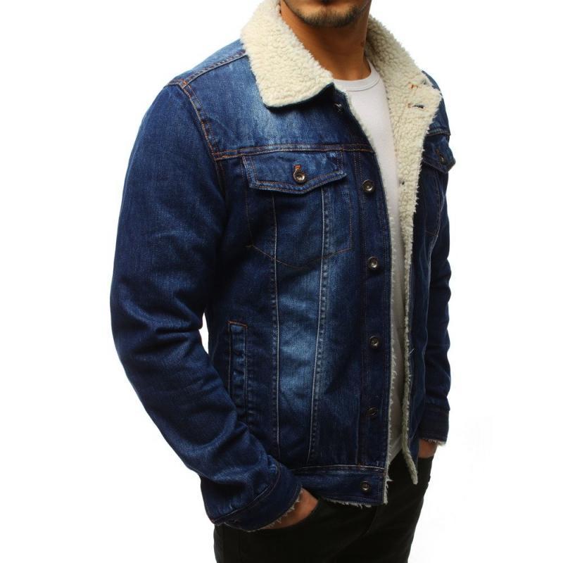 Pánska bunda džísky zateplená modrá  7e6bea8a38