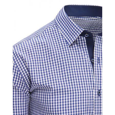 06adc7e04e93 Modrá pánska moderné košeľa štvorčekovaná s dlhým rukávom