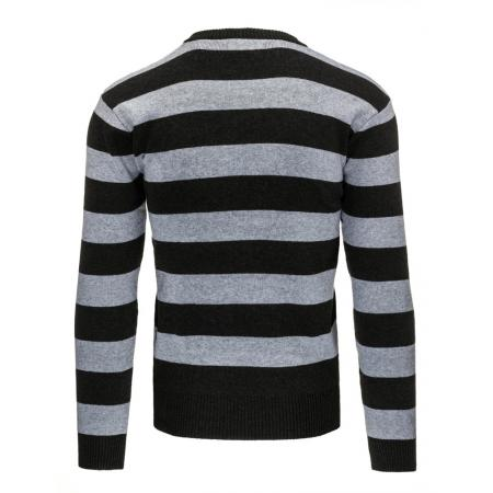 1e8e06ee307d Pohodlný pánsky pruhovaný sveter grafitový