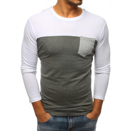 Pánské antracitové tričko s kapsou a dlouhým rukávem ed351aa7e7