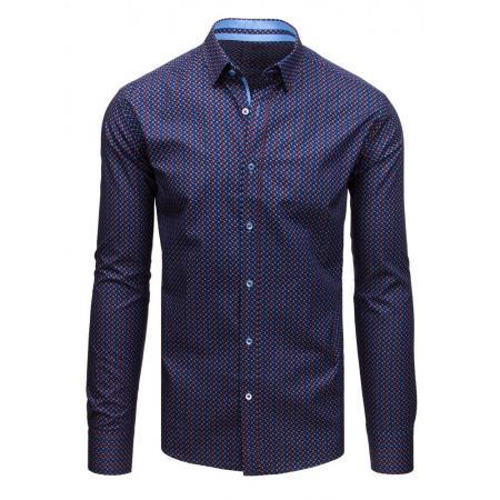 7d3fa32bcbc2 Pánska elegantná košeľa so vzorom tmavomodrá