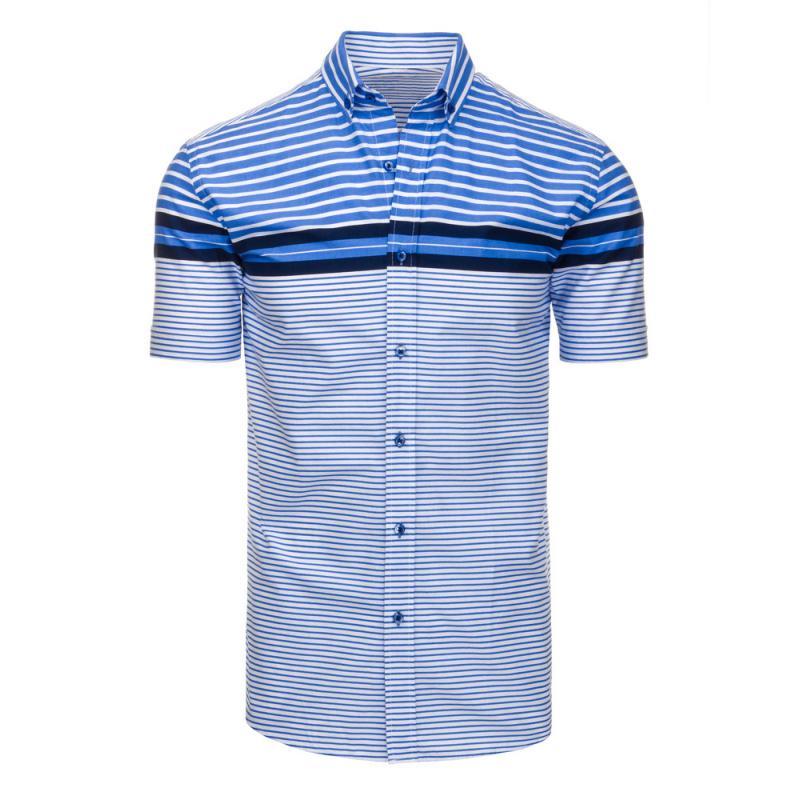 4903e3d2545 Pánská košile pruhovaná s krátkým rukávem světle modrá