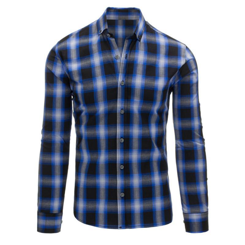 017f6ba721f3 Čierno-svetlo modrá pánska košeľa kockovaná