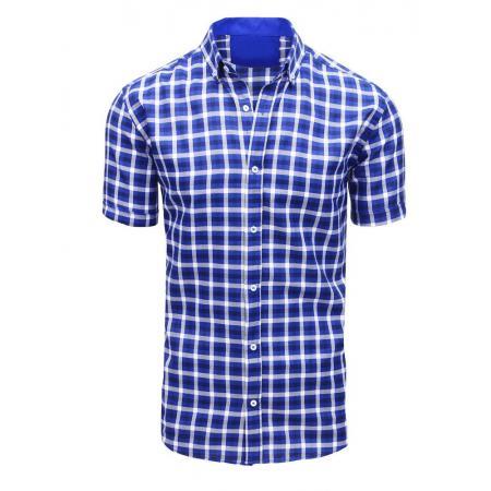48e3d6e45814 Modrá pánska košeľa kockovaná s krátkym rukávom